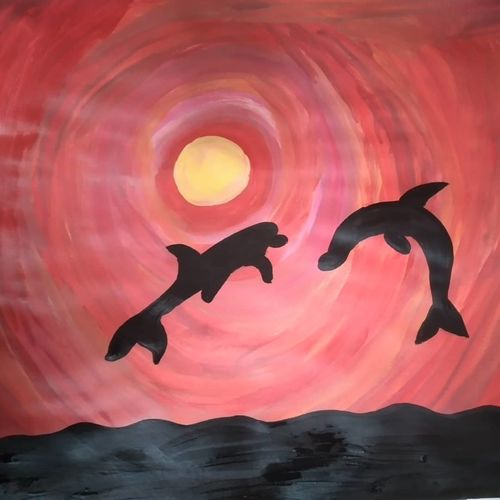 dolphins and sea, 28 x 35 inch, shwetha sharma,28x35inch,thick paper,paintings,animal paintings,acrylic color,GAL02923541327