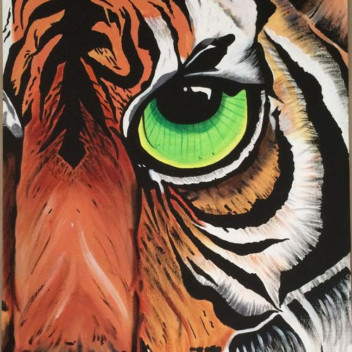 the fiery tiger, 24 x 16 inch, amita dand,animal paintings,paintings for living room,canvas,acrylic color,24x16inch,GAL014674133