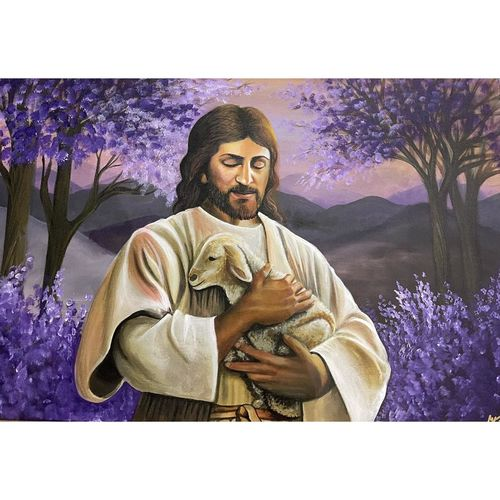 jesus holding a lamb with landscape background , 36 x 24 inch, gaurangi gupta,36x24inch,canvas,paintings,landscape paintings,conceptual paintings,religious paintings,nature paintings | scenery paintings,art deco paintings,photorealism paintings,photorealism,portraiture,realism paintings,surrealism paintings,contemporary paintings,love paintings,paintings for dining room,paintings for living room,paintings for bedroom,paintings for office,paintings for bathroom,paintings for kids room,paintings for hotel,paintings for kitchen,paintings for school,paintings for hospital,acrylic color,GAL02814641330