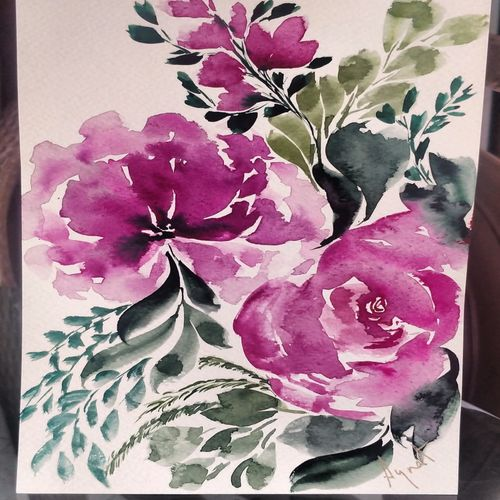 purple frenzy, 6 x 8 inch, tanya pathak,6x8inch,renaissance watercolor paper,paintings,flower paintings,paintings for dining room,paintings for living room,paintings for bedroom,paintings for office,paintings for bathroom,paintings for kids room,paintings for hotel,paintings for kitchen,paintings for hospital,watercolor,GAL02923841333