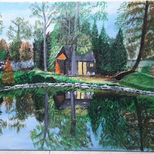 tiny house in nature, 12 x 16 inch, niranjan vora,12x16inch,canvas,paintings,abstract paintings,landscape paintings,nature paintings | scenery paintings,realistic paintings,paintings for dining room,paintings for living room,paintings for bedroom,paintings for dining room,paintings for living room,paintings for bedroom,acrylic color,GAL02890441335