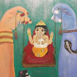 bal ganesha, 12 x 8 inch, a_smile arts,12x8inch,canvas,paintings,religious paintings,art deco paintings,ganesha paintings | lord ganesh paintings,paintings for living room,paintings for office,paintings for kids room,paintings for hotel,acrylic color,GAL02921541337