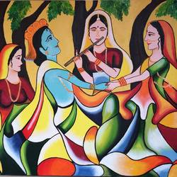 raas leela, 24 x 18 inch, amita dand,abstract paintings,paintings for living room,canvas,oil,24x18inch,GAL014674134