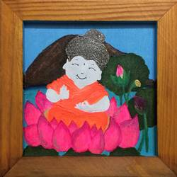 smiling buddha, 6 x 6 inch, a_smile arts,6x6inch,wood board,paintings,buddha paintings,religious paintings,kids paintings,paintings for living room,paintings for office,paintings for kids room,paintings for hotel,acrylic color,mixed media,poster color,wood,GAL02921541343