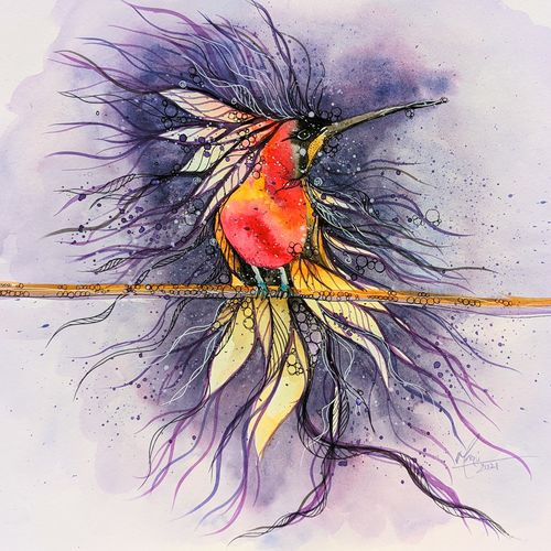 bird - crimson topaze, 16 x 13 inch, mansi saxena,16x13inch,thick paper,paintings,abstract paintings,wildlife paintings,figurative paintings,paintings for dining room,paintings for living room,paintings for bedroom,paintings for office,paintings for bathroom,paintings for kids room,paintings for hotel,watercolor,GAL0766941351