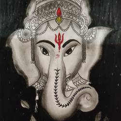lord ganesha, 12 x 18 inch, nancy agarwal,12x18inch,ivory sheet,wildlife paintings,flower paintings,landscape paintings,religious paintings,charcoal,mixed media,pen color,GAL02857241359