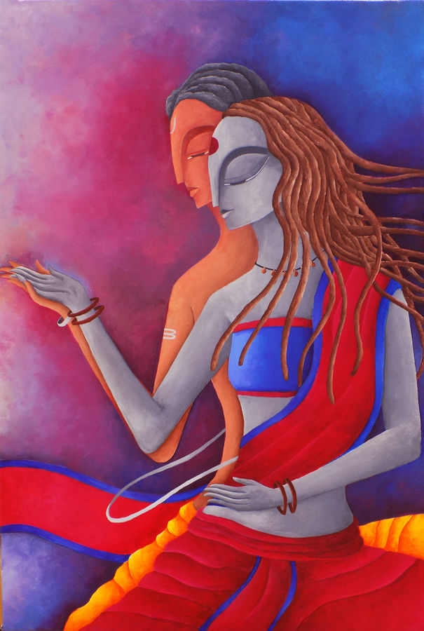 dance of love, 20 x 30 inch, debaditya sarkar,modern art paintings,paintings for bedroom,canvas,acrylic color,20x30inch,GAL03964136