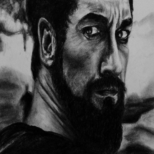 leonidas, 4 x 4 inch, mahesh k,4x4inch,thick paper,drawings,figurative drawings,photorealism drawings,portrait drawings,realism drawings,paintings for dining room,paintings for living room,paintings for bedroom,paintings for kids room,paintings for hotel,paintings for school,paintings for hospital,charcoal,GAL02924941364