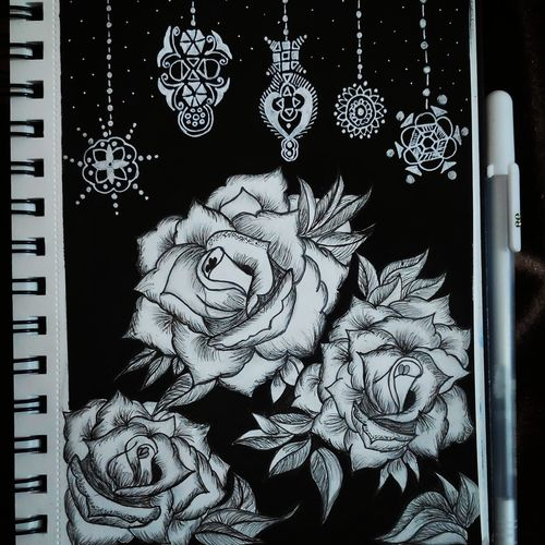 roses with mandala art, 4 x 4 inch, prashansa  singh,4x4inch,thick paper,drawings,abstract drawings,paintings for living room,paintings for bedroom,paintings for office,paintings for kids room,paintings for hotel,paintings for school,paintings for hospital,pen color,paper,GAL02911541368