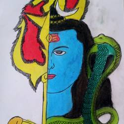 lord shiva painting, 14 x 10 inch, vishal singh,14x10inch,drawing paper,paintings,lord shiva paintings,pastel color,GAL02764341375