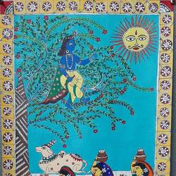krishna and gopis, 16 x 23 inch, aparajita  gupta ,16x23inch,paper,paintings,madhubani paintings | madhubani art,paintings for living room,paintings for living room,acrylic color,paper,GAL02925841380