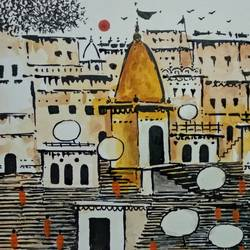 varanasi ghat , 11 x 8 inch, girish chandra vidyaratna,landscape paintings,paintings for bedroom,drawings,figurative drawings,fine art drawings,modern drawings,paintings for dining room,paintings for living room,paper,acrylic color,11x8inch,GAL0364139
