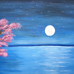 full moon night sea view, 20 x 12 inch, akanksha p,20x12inch,canvas,paintings,nature paintings | scenery paintings,paintings for dining room,paintings for living room,paintings for bedroom,paintings for office,paintings for bathroom,paintings for kids room,paintings for hotel,paintings for kitchen,paintings for school,paintings for hospital,acrylic color,GAL02908341398
