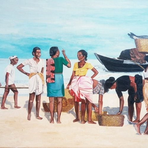 fisher folk, 30 x 22 inch, jeetendra  fadte,30x22inch,canvas,paintings,landscape paintings,paintings for living room,acrylic color,GAL02929441399