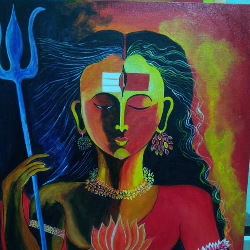 ardhnari,shiv parvati, 16 x 20 inch, shashi jaiswal,16x20inch,canvas,paintings,religious paintings,lord shiva paintings,paintings for dining room,paintings for living room,paintings for bedroom,paintings for office,paintings for hotel,paintings for hospital,acrylic color,GAL02930541410
