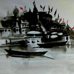 varanasi ghat 31, 14 x 6 inch, girish chandra vidyaratna,landscape paintings,paintings for living room,horizontal,paper,acrylic color,14x6inch,GAL0364143