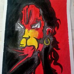 lord hanuman painting, 14 x 10 inch, vishal singh,14x10inch,drawing paper,lord shiva paintings,pastel color,GAL02764341435