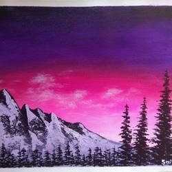 sunset mountain forest landscape scenery , 12 x 10 inch, sai amale ,12x10inch,canvas,paintings,landscape paintings,nature paintings   scenery paintings,paintings for dining room,paintings for living room,paintings for bedroom,paintings for office,paintings for hotel,acrylic color,GAL02904141437