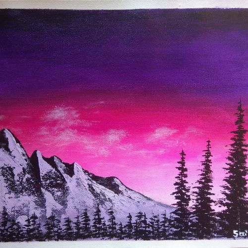 sunset mountain forest landscape scenery , 12 x 10 inch, sai amale ,12x10inch,canvas,paintings,landscape paintings,nature paintings | scenery paintings,paintings for dining room,paintings for living room,paintings for bedroom,paintings for office,paintings for hotel,acrylic color,GAL02904141437