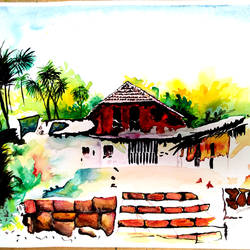 the village, 18 x 12 inch, gali 2,18x12inch,canson paper,paintings,landscape paintings,watercolor,GAL02932341447