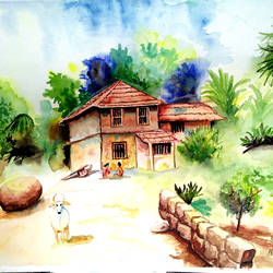 village house in water, 24 x 18 inch, gali 2,24x18inch,canson paper,paintings,landscape paintings,watercolor,GAL02932341448