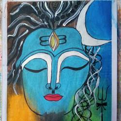 lord shiva painting, 14 x 10 inch, vishal singh,14x10inch,drawing paper,paintings,lord shiva paintings,pastel color,GAL02764341452