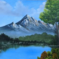 mountain serenity, 24 x 18 inch, krishna ghosh,24x18inch,canvas,landscape paintings,conceptual paintings,nature paintings | scenery paintings,contemporary paintings,oil color,GAL02828841460