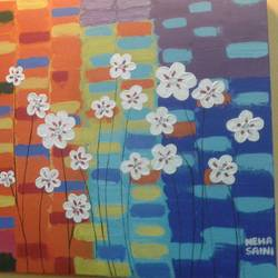 white flowers, 20 x 30 inch, neha saini,20x30inch,canvas,paintings,abstract paintings,paintings for dining room,paintings for living room,paintings for office,paintings for hotel,paintings for hospital,acrylic color,GAL02682541465