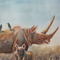 rhino with baby, 7 x 5 inch, ajay anand,7x5inch,handmade paper,paintings,wildlife paintings,landscape paintings,nature paintings | scenery paintings,paintings for dining room,paintings for living room,paintings for bedroom,paintings for bathroom,paintings for kids room,paintings for hotel,paintings for school,watercolor,GAL01783941466