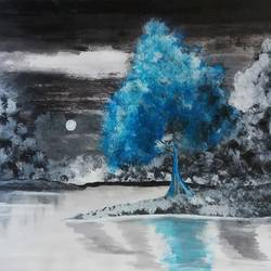 blue tree, 11 x 14 inch, gaurangi thakur,11x14inch,thick paper,landscape paintings,acrylic color,GAL02911341468