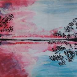 water reflection, 11 x 14 inch, gaurangi thakur,11x14inch,thick paper,landscape paintings,acrylic color,GAL02911341469