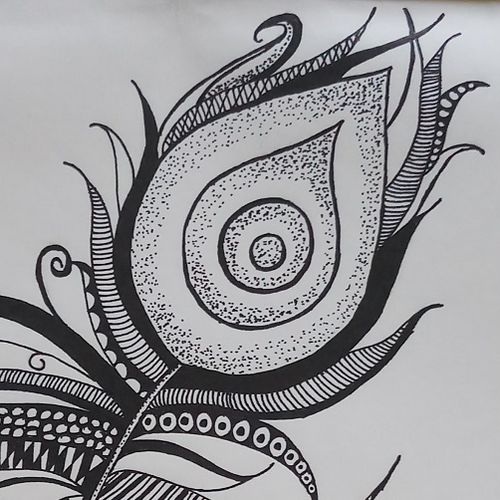 peacock feather, 8 x 12 inch, gaurangi thakur,8x12inch,thick paper,abstract paintings,ball point pen,GAL02911341470