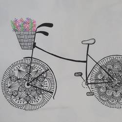 flowers loaded bicycle, 8 x 12 inch, gaurangi thakur,8x12inch,thick paper,paintings,flower paintings,ball point pen,GAL02911341472