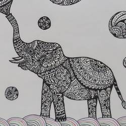 elephant playing with balloons, 8 x 11 inch, gaurangi thakur,8x11inch,thick paper,paintings,wildlife paintings,paintings for dining room,paintings for living room,paintings for bedroom,paintings for office,paintings for kids room,paintings for hotel,paintings for hospital,ball point pen,GAL02911341473