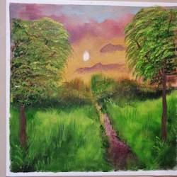 elysium, 12 x 16 inch, suman raghunathan,12x16inch,canvas,abstract paintings,landscape paintings,oil color,GAL02870041476