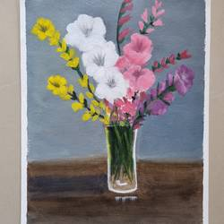 flower in a vase, 12 x 16 inch, suman raghunathan,12x16inch,canvas,paintings,flower paintings,oil color,GAL02870041477