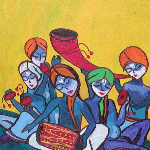 the mridang, 12 x 12 inch, nidhi kaushik bhargova,figurative paintings,paintings for living room,canvas,acrylic color,12x12inch,GAL014914148