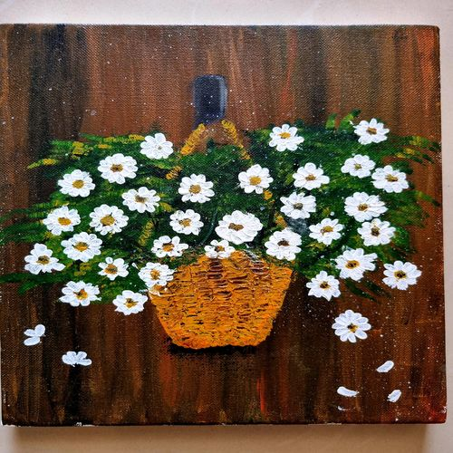 happy daisies, 12 x 10 inch, suman raghunathan,12x10inch,canvas board,paintings,flower paintings,acrylic color,GAL02870041480