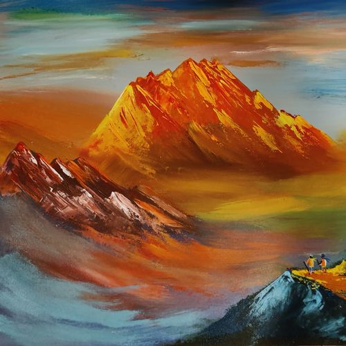mountain heights, 24 x 18 inch, kashmira jaorewalla,24x18inch,canvas,paintings,landscape paintings,nature paintings | scenery paintings,paintings for dining room,paintings for living room,paintings for bedroom,paintings for office,paintings for kids room,paintings for hotel,paintings for school,paintings for hospital,acrylic color,GAL02909041481