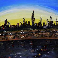 city under yellow light, 12 x 12 inch, nayana b.c,12x12inch,canvas,paintings,abstract paintings,cityscape paintings,art deco paintings,street art,paintings for dining room,paintings for living room,paintings for bedroom,paintings for office,paintings for hotel,paintings for school,acrylic color,GAL02908241489