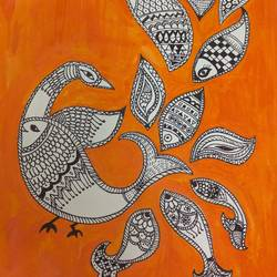 udne wali machli, 16 x 20 inch, nidhi kaushik bhargova,folk art paintings,paintings for dining room,thick paper,pen color,16x20inch,GAL014914149