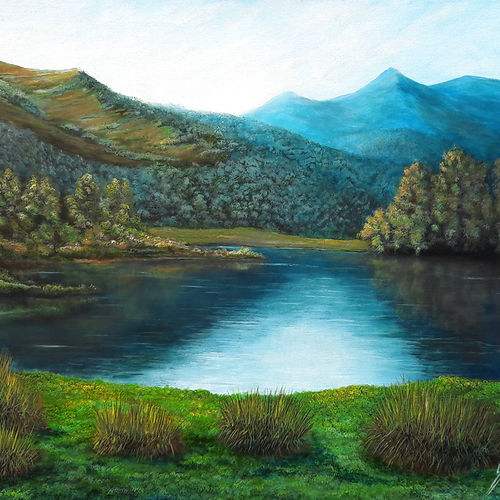 morning dues, 48 x 36 inch, seby augustine,48x36inch,canvas,paintings,landscape paintings,nature paintings | scenery paintings,realism paintings,paintings for dining room,paintings for living room,paintings for bedroom,paintings for office,paintings for bathroom,paintings for kids room,paintings for hotel,paintings for kitchen,paintings for school,paintings for hospital,acrylic color,GAL015041493