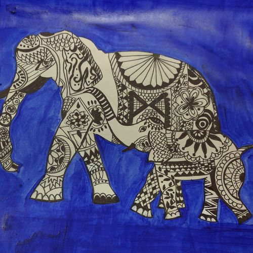 maitrey, 20 x 16 inch, nidhi kaushik bhargova,folk art paintings,paintings for living room,animal paintings,thick paper,pen color,20x16inch,GAL014914150