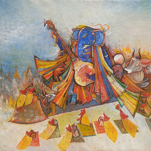 vighnaharta in banaras, 60 x 36 inch, m. singh,60x36inch,canvas,paintings,ganesha paintings | lord ganesh paintings,paintings for living room,paintings for office,paintings for kids room,paintings for hotel,paintings for school,paintings for hospital,acrylic color,GAL0537741519