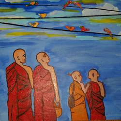 bliss, 16 x 24 inch, nidhi kaushik bhargova,buddha paintings,paintings for living room,canvas,acrylic color,16x24inch,religious,peace,meditation,meditating,gautam,goutam,buddha,monks,birds,GAL014914152