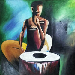 a tabla man upset due to no work, 21 x 21 inch, chandan sharma,21x21inch,canvas,conceptual paintings,still life paintings,expressionism paintings,minimalist paintings,realism paintings,oil color,GAL02933041524