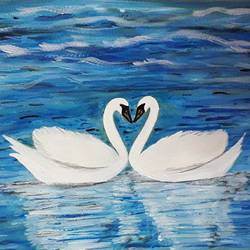 white swans in the sea of love, 12 x 8 inch, sarika kewalramani.nathani,12x8inch,brustro watercolor paper,paintings,nature paintings | scenery paintings,acrylic color,watercolor,GAL02047341530