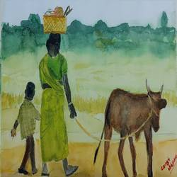a village mother with her children, 8 x 12 inch, vikram sridharan,8x12inch,brustro watercolor paper,paintings,expressionism paintings,impressionist paintings,paintings for dining room,paintings for living room,paintings for bedroom,paintings for office,paintings for kids room,paintings for hotel,paintings for kitchen,paintings for school,paintings for hospital,watercolor,paper,GAL02937541535