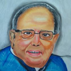 late.former president of india .pranab mukherjee, 11 x 15 inch, ishwar manohar borse borse,11x15inch,paper,drawings,portrait drawings,pastel color,GAL02935641537