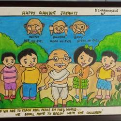 gandhi jayanti special, 12 x 17 inch, charuhasini b,12x17inch,thick paper,drawings,kids drawings,paintings for living room,pastel color,GAL02937641539